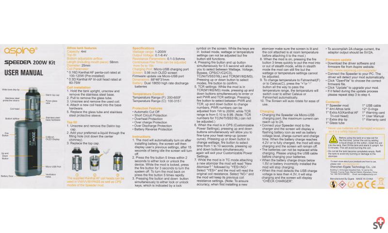 Aspire Speeder Kit 200W (Vaporizer) - User Manual